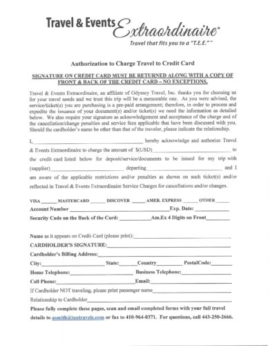 TEE Credit Card Authorization & Guest Travel Information Form