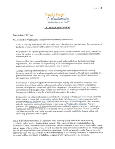 Letter of Agreement for Destination Weddings