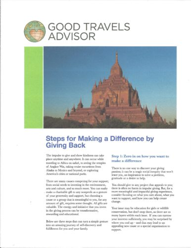 Good Travels Advisor Steps for Making a Difference by Giving Back